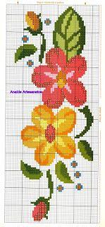 Gráficos de ponto cruz: Barradinho flores Cross Stitch Bookmarks, Cross Stitch Borders, Cross Stitch Flowers, Cross Stitch Charts, Cross Stitch Designs, Cross Stitching, Cross Stitch Embroidery, Hand Embroidery, Cross Stitch Patterns