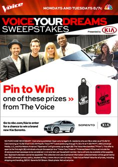 Click this pin to find out how to win a Kia Sorento and weekly prizes from Kia Motors and The Voice. Be sure to check back each week for additional chances to pin and win!