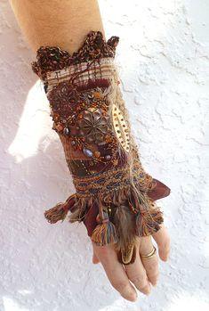 Gypsy tales VII ooak fiber art gypsy bohemian cuff by Cesart64