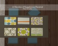 """""""10 recolors of buggybooz placemat"""