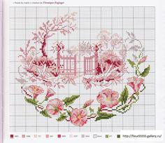 free cross stitch -- pink garden gate and pink flower border.