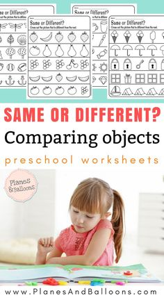 Get these same and different preschool activities. They are great for introducing the concept of same and different and they are easy to download! Free to use in the classroom or at home! #preschool #pre-k #preschoolworksheets #comparingobjects #sameanddifferentworksheets #pre-readingskills #earlymathskills