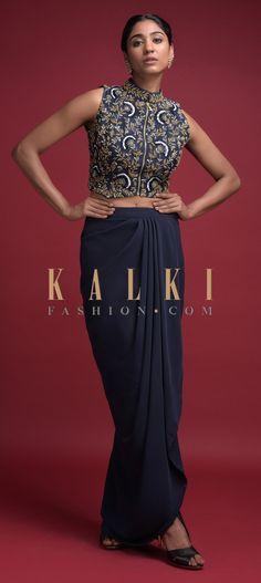 Midnight Blue Skirt With Cowl Drape And Floral Jaal Embroidered Crop Top Online - Kalki Fashion Indian Designer Suits, Designer Wear, Anarkali, Lehenga, Dolly Dress, Crop Tops Online, Draped Skirt, Embroidered Blouse, Indian Dresses