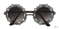 Óculos De Sol Redondo Em Metal Imitando Renda || Ui! Gafas / Lace - UI364