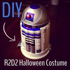DIY R2D2 Halloween costume for less than $25 - A step by step guide on how to make an R2D2 costume with a garbage can. : My Family Stuff    #Halloween #R2D2 #costume