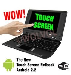 Slim and light weight BLACK mini laptop Android 2.2, TOUCH SCREEN function, open files with a simple TOUCH with your finger, 4GB storage, WiFi internet price  $109.94