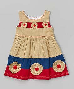 Look what I found on #zulily! Khaki Button Flower Dress - Infant, Toddler & Girls by the Silly Sissy #zulilyfinds