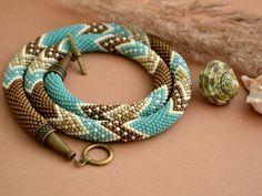 "Bead Crochet Necklace ""Sea Breeze and Prairie Grass"""