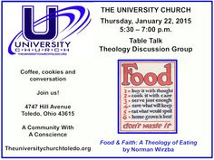 Join us as we continue a conversation on the theology of food and eating. All are welcome.