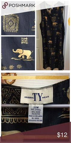 Casual Maxi Dress Sleeveless maxi dress with tribal motif and elephants! Side buttons for a semi-fitted torso and extremely comfortable! Easily accessorized to go from grocery shopping to dinner dates. TY Wear Dresses Maxi