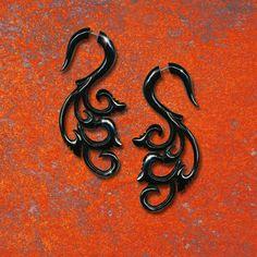 Jana Curls  Fake Gauge Black Horn Earrings by PrimalOriginals, $23.00