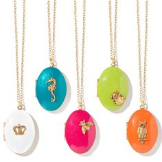 Her Favorite Icons perched on bright enamel lockets are perfect spring and summer accessories! Set of 5.