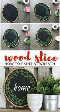 This Wood Slice Painted Wreath is such a great DIY and easy Christmas craft., DIY and Crafts, This Wood Slice Painted Wreath is such a great DIY and easy Christmas craft. It puts a new spin on an old classic wreath. You will love this Christmas. Christmas Crafts To Make, Christmas Wood, Simple Christmas, Holiday Crafts, Christmas Wreaths, Christmas Decorations, Xmas, Beach Christmas, Snowman Decorations