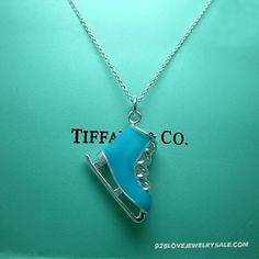 Tiffany ice skate charm with blue enamel finish
