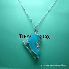 Tiffany ice skate charm with blue enamel finish