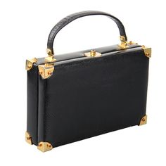 "Judith Lieber Lizard ""Briefcase""  Handbag Great Hardware 