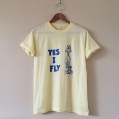 "Silly Stoner Vintage Tee Funny ""Yes I Fly"" with confused pilot. Soft & thin!  BRAND: Sportswear MATERIAL: 50/50 YEAR/ERA: 80s LABEL SIZE: M  MEASUREMENTS: Bust 18 inches Length 25 inches  Check out my closet for more vintage tees!   Offers welcome! Please use button below  UNIF Tops Tees - Short Sleeve"