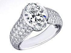 Oval Diamond Engagement Ring Five Row Etoile Style Diamond Band - ES1177