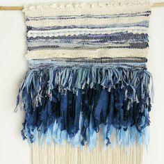 Tissage Mural Bleu -Long blue handmade weaving with love : http://www.lequitable.fr/boutique/fr/accessoires-et-decoration/601-tissage-mural-bleu.html
