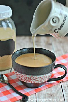 homemade coffee creamer recipe French Vanilla Creamer: 14 oz condensed milk, 1 and half skim milk and 2 tsp vanilla extract Homemade Coffee Creamer, Coffee Creamer Recipe, French Vanilla Creamer, Shugary Sweets, Kakao, Coffee Drinks, Coffee Barista, Coffee Latte, Coffee Maker