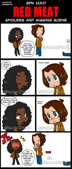 """SPN RED MEAT Missing Scene by KamiDiox Yeah, I didn't buy the """"his body was in shock"""" to be honest, the idea came after seen a cute comic about the Death and a Cat. Supernatural Cartoon, Supernatural Drawings, Supernatural Fan Art, Mark Sheppard, Sam Dean, Sam Winchester, Winchester Brothers, John John, Misha Collins"""