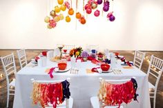 Colorful wedding ideas 014- maybe not these exact colors, but using christmas ornaments could be fun