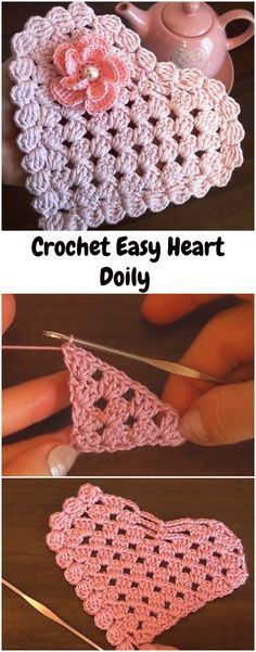Most up-to-date Pictures Crochet Doilies simple Style Crochet Easy Heart Doily Thread Crochet, Love Crochet, Crochet Gifts, Crochet Motif, Crochet Doilies, Easy Crochet, Crochet Stitches, Crochet Hearts, Crochet Flowers
