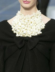 What would a Chanel runway be without pearls!!✤ | Keep the Glamour | BeStayBeautiful    hautekills:    Chanel s/s 2013