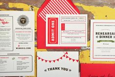 Lauren + Joes Red and White Carnival Wedding Invitations