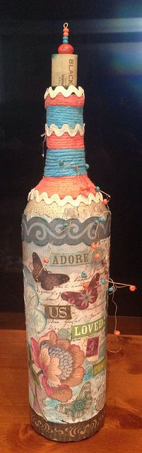 altered bear bottle, upcycled bottle, decoupage