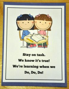 Stay on Task Poster:  Brand new freebie!  Serves as a behavior reminder and visual cue.