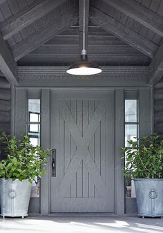 Front door of log cabin home in Sonoma, California