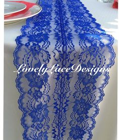 ROYAL BLUE Lace Table Runner 3ft-8ft long x by LovelyLaceDesigns