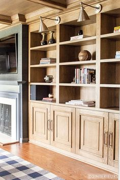 Great natural wood bookcases and library lights
