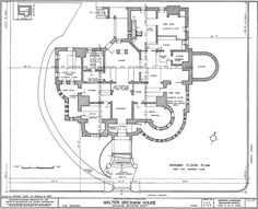"""The floor plans to the famed """"Bishops Palace"""" formally the """"Walter Gresham House"""". - GROUND FLOOR.  Floorplans for Gilded Age Mansions. - SkyscraperPage Forum"""