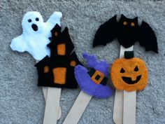 Halloween stick puppets from a pattern I bought on Etsy