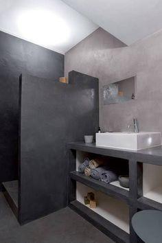 Meuble salle de bain douche italienne béton ciré