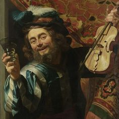 Een vrolijke vioolspeler, Gerard van Honthorst, 1623 - Rijksmuseum (In the exuberant Italian-style clothing stabbed husband surprised us. He comes from behind a carpet out and leans out the window. To resonate with the viewer, he seeks contact. He seems to come from the list of the painting, so lifelike and convincing has Honthorst know this painting.)