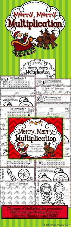 Third Grade Christmas Math • 20 fun, seasonal, MULTIPLICATION printables! Cute and engaging for the holiday season: