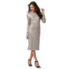 J by Jasper Conran Silver sequin detail long sleeved dress | Debenhams £85