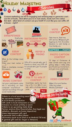 Holiday Marketing Boosters Christmas season is upon us! Here are a few contest ideas on how we can keep your social media sites active this Christmas season. Do these contest marketing ideas work for you? #ivettemovesyou #iknowhowtomoveyou