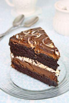 Tuxedo cake, Costco style, with 2 layers of chocolate ganache cream. The best chocolate cake I've ever had!