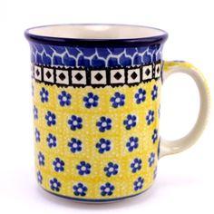 Adorable yellow mug. See more #PolishPottery at http://slavicapottery.com