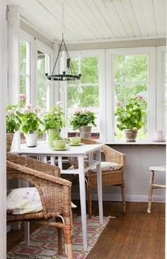 Interior,Marvelous Small Sunroom Designs Home Design And Interior With Wood Flooring And Indoor Plant Inspirations,Amazing Sunroom Interior Design Sunroom Furniture, Outdoor Furniture Sets, Wicker Furniture, Adirondack Furniture, Office Furniture, Furniture Ideas, Small Sunroom, Small Conservatory, Sunroom Office