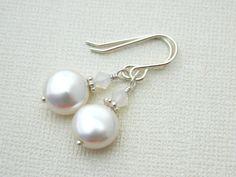 Wedding Earrings Swarovski Pearls Crystal Sterling by sobresitos