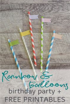 Ideas with free printables for a rainbow and balloons themed kids party. Inspiration for diy Rainbow and Balloons themed children's party. Rainbow Party Games, Rainbow Party Decorations, Rainbow Parties, Kids Rainbow, Halloween Decorations, First Birthday Party Themes, Kids Party Themes, Party Ideas, Diy Birthday