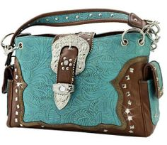 Western Belt Buckle Purse Handbag Tooled Look Floral Concealed Carry Gun Blue