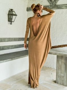 Camel Taupe Maxi Dress Kaftan with Nude See-Through Detail / Asymmetric Open Back Dress / Oversize Loose Dress / This elegant, Taupe Maxi Dress, Backless Maxi Dresses, Maxi Robes, Gray Maxi, Open Back Maxi Dress, Open Back Dresses, Dress Plus Size, Plus Size Maxi Dresses, Couture
