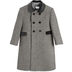 34f51c64 Ancar Classic Grey Wool Coat with Velvet Collar at Childrensalon.com Top  Stitching, Wool