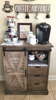 Coffee Bars In Kitchen, Coffee Bar Home, Home Coffee Stations, Coffee Bar Ideas, Coffee Station Kitchen, Coffee Bar Station, Tea Station, Coffee Kitchen Decor, Beverage Stations